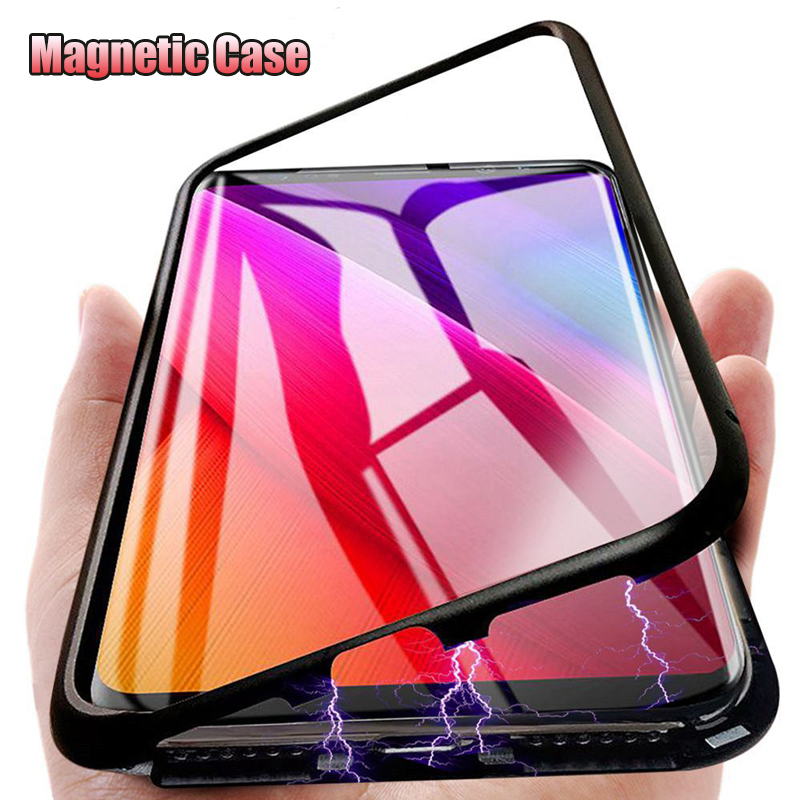 Magnetic Adsorption Metal Case For Xiaomi Redmi Note 9 8 7 6 5 K20 Pro 8T K30 7A 8A Tempered Glass For Mi 10 9T Pro 9 8 SE Cover(China)