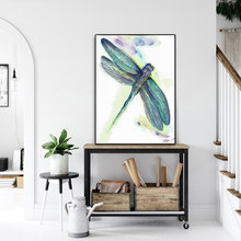 RELIABLI Posters And Prints Watercolor Dragonfly Canvas Painting Animal Pictures Wall Art For Living Room Decorative Painting(China)
