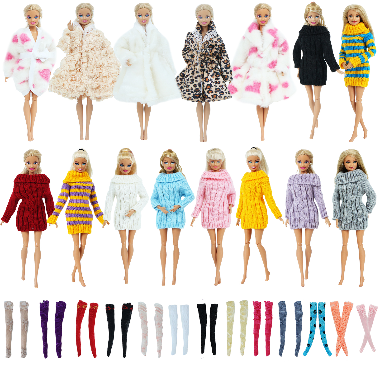 5 Pcs / Set Fashion Winter Outfit For Barbie Doll 1x Coat 1x Sweater Random Mixed 3x Stockings Clothes Accessories Toy 12'' Doll