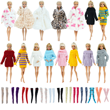 цена 5 Pcs / Set Fashion Winter Outfit for Barbie Doll 1x Coat 1x Sweater Random Mixed 3x Stockings Clothes Accessories Toy 12'' Doll онлайн в 2017 году