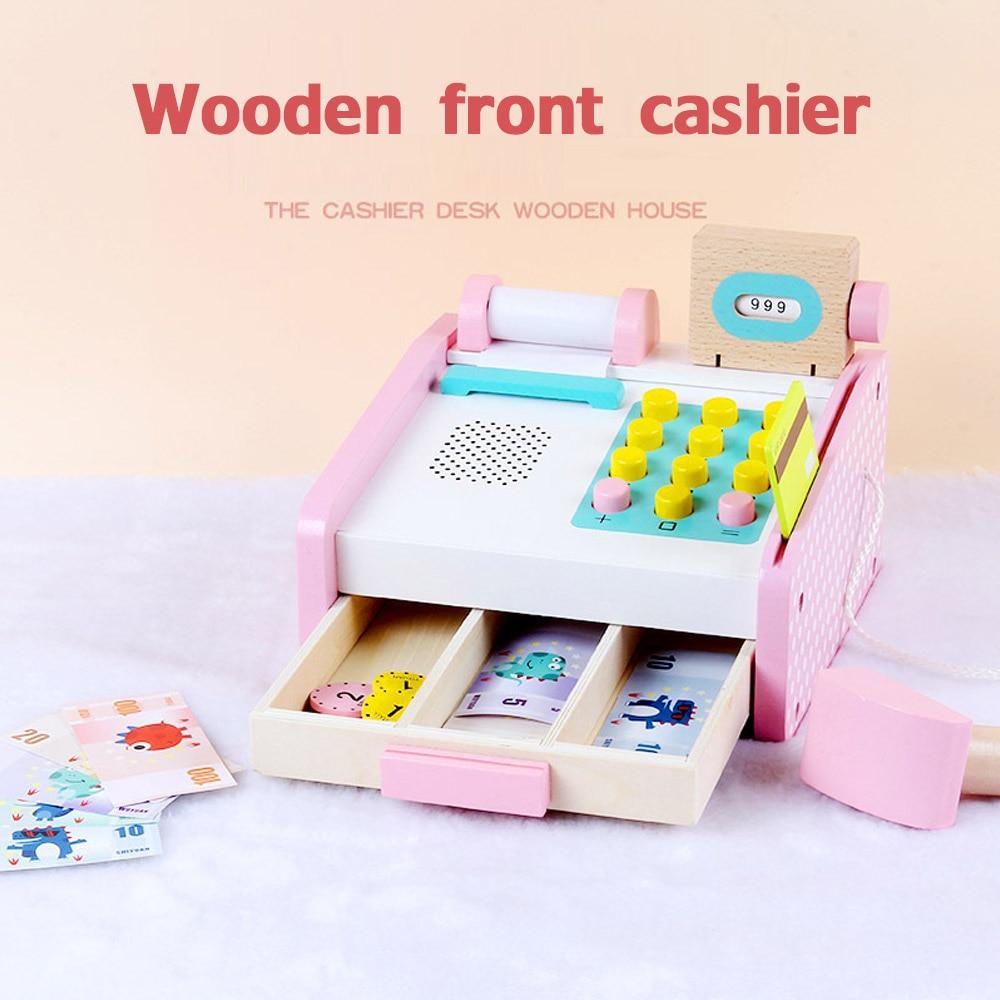 Wooden Children Educational Toys Simulation Cash Register Registradora Shopping Desk Pretend Play Toy For Children Gift