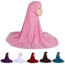 Um pedaço hijab lenço muçulmano amira oração khimar chapéu feminino headwear islâmico turbante overhead lenço cobertura completa serviço de adoração