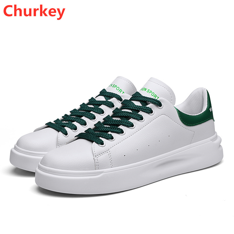 New Fashion 2020 Men Shoes Man Sneakers PU Lace up Flat Driving Trainers Spring Autumn Casual Sports White Vulcanized Shoes