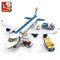 Sluban City Serie Luftfahrt Flughafen Moderne Flugzeug Bus Flugzeug Flugzeug Modell DIY Bausteine Spielzeug Für Kinder Kinder Geschenk