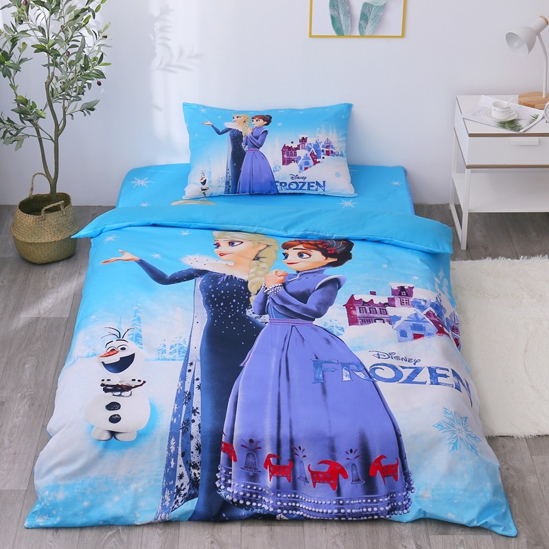 Disney 100% Cotton Elsa Princess Frozen 2 Bedding Set Duvet Cover Flatsheet Pillowcases For Baby Girls Kids Bed Birthday Gift