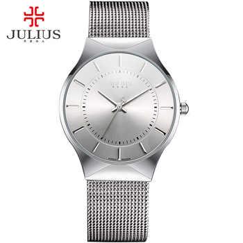 JULIUS Modus Casual Luxury Uhr Top Marke Logo herren Uhr Silber Schwarz Ultra Dünne Mesh Voller Stahl Quarz Wasserdicht JA-577