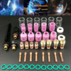 49PCS For WP 17/18/26 TIG Welding Torch Stubby Gas Lens #10 Pyrex Glass Cup Kit Durable Practical Welding Accessories Easy Use