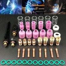 Lentes de Gas Stubby para WP 17/18/26 soplete de soldadura TIG, Kit de vasos de vidrio Pyrex, accesorios de soldadura prácticos duraderos, fácil de usar, 49 Uds.