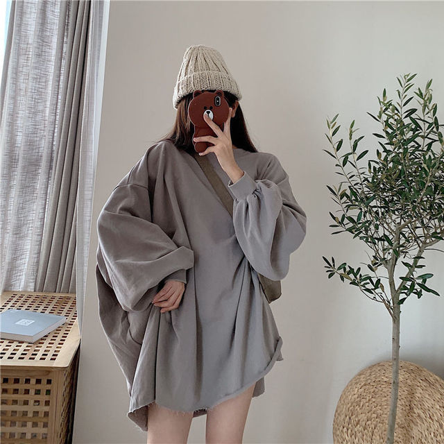 Sweatshirt girl street wear loose hip-hop Harajuku female casual long-sleeved female high street super large round neck 1