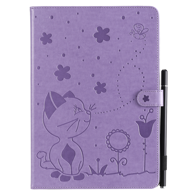 Purple Red For Apple iPad 10 2 inch 2019 Case Cartoon Cat Embossing Leather Cover For iPad 10