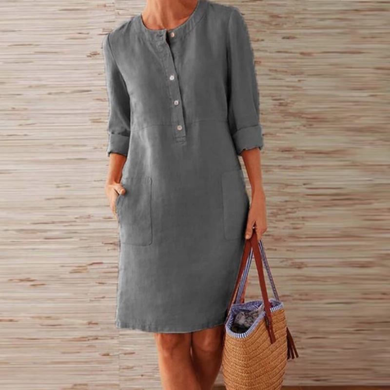 CAIDA Spring Cotton Linen Dress Fashion Button O-Neck Knee Party Dress Women Long Sleeve Pocket Solid Dresses 14