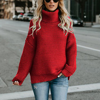Women Solid Sweaters Autumn Winter Casual Loose Pullovers Tops Long Sleeve Turtleneck Knitted Sweater Oversized Warm Knit Jumper