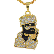 Hot Hip Hop Cartoon Head Necklace Pendant Men Jewelry Wholesale Head Gold Color Necklace Hiphop Pendant Long Chains