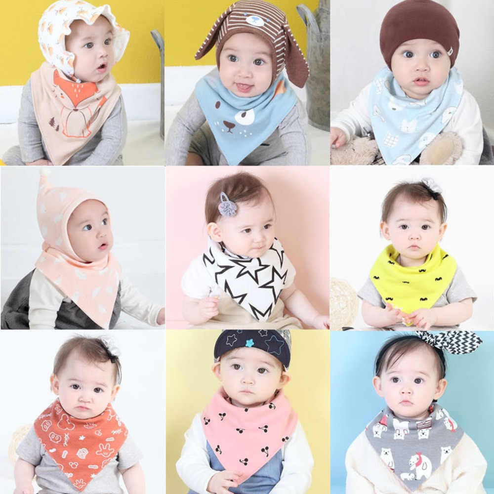 Cartoon Triangle Defence Saliva Dirty Cotton Baby Bibs 0-3 Years Unisex Cheap Two-sided Waterproof Bib Feeding Care Snap Apron