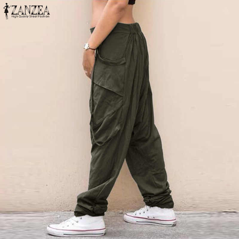 Женские брюки карго 2019 ZANZEA повседневные брюки комбинезон на пуговице штаны с эластичным поясом женские брюки палаццо репа Большие размеры