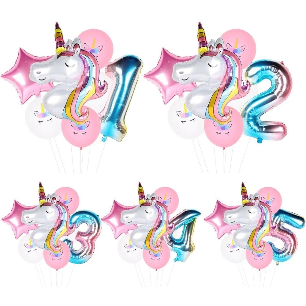 7Pcs//lot Rainbow Unicorn Party Balloons Unicorn Birthday Decoration NumberBallon
