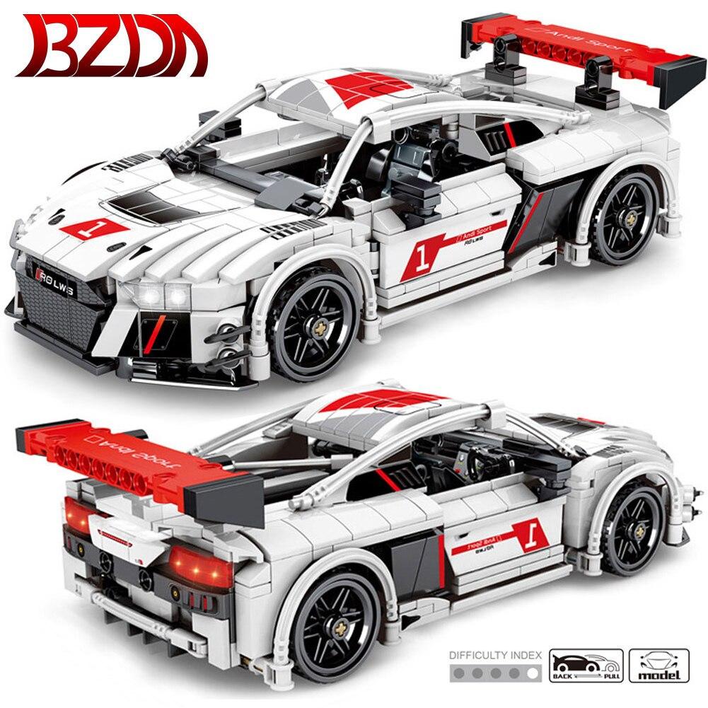 BZDA High-Tech  Pull Back Racing Car blocks Creator City  Speed Champion Model Building Blocks A8  Supercar Bricks Toys  Gift