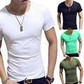 20 pièces M 3XL pour hommes hommes 2019 nouveau 1PC solide offre spéciale Fitness O cou mode populaire col en V t shirt haute qualité décontracté