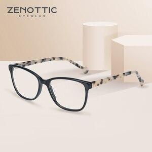 Image 2 - ZENOTTIC asetat kare kadınlar için gözlük çerçeveleri miyopi hipermetrop optik gözlük gözlük çerçeveleri reçete gözlük