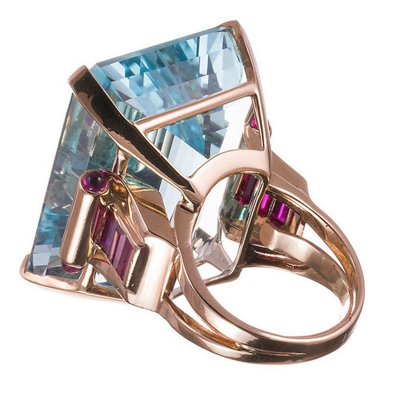 Big Blue  Zircon Stone Glod Rings Women Fashion Jewelry Valentines Day Gift 1PC
