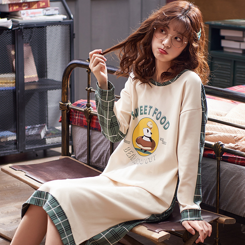 By Fruit Nightgown Women's Long-Sleeve Mid-length Pure Cotton Spring And Autumn-Outer Wear Large Size Pajamas Korean-style Cotto