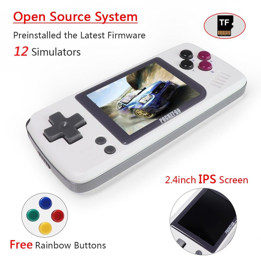 Console de jogos de vídeo-pocketgo-portátil handheld retro jogadores de jogos progresso salvar/carregar cartão microsd tela colorida externa