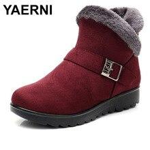YAERNI Winter Plush Fur Short Warm Snow Boots Plus Size Platform Women's Ankle Boots Zipper Suede Shoes for Women FreeE1242