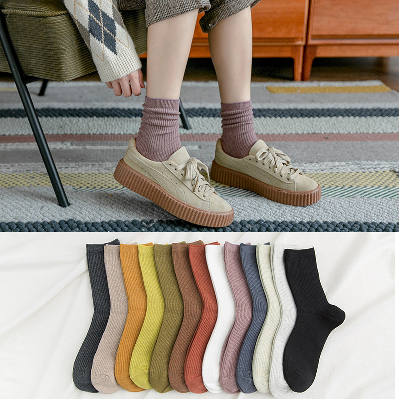 2019 New 10 Pieces = 5 Pairs Candy-colored Piles Of Socks Female Autumn Winter Cotton Solid Color  Korean Ins Tide Warm Socks