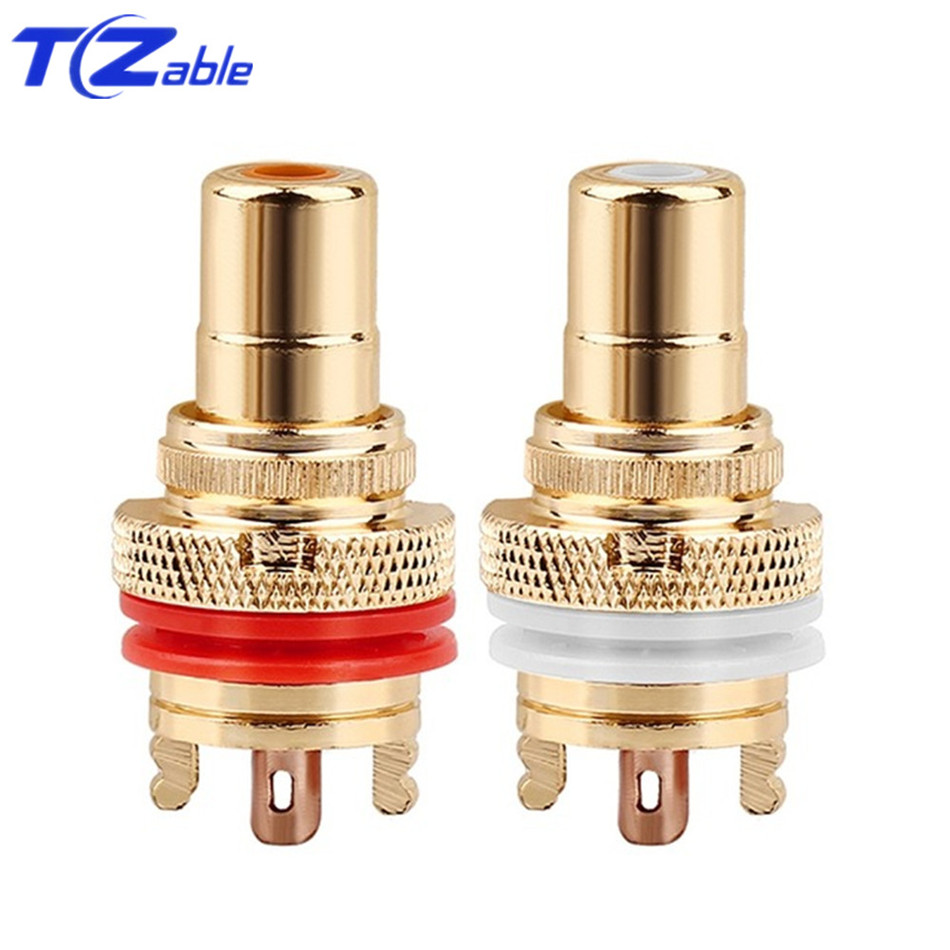 Image 3 - RCA Plug Connector Female Socket Chassis CMC Connectors Bright/Dumb Plated Copper Jack 32mm HiFi White Red Audio JacksPlug & Connectors   -