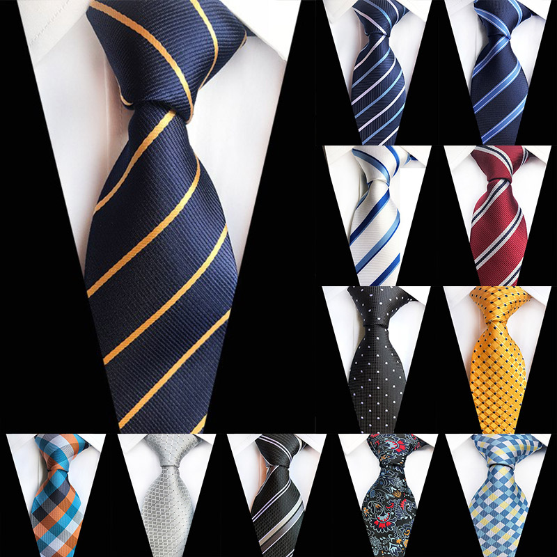 New 8cm Striped Dark Tie Business Casual Silk Luxury Mens Neck Ties Wedding Party Neck Tie Formal Dress Neck Tie