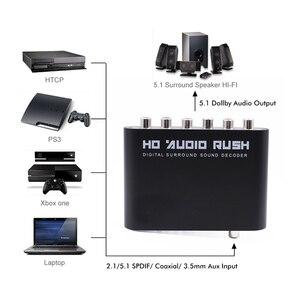Image 2 - Cyfrowy dekoder dźwięku 5.1 SPDIF koncentryczny na RCA DTS AC3 optyczny wzmacniacz cyfrowy analogowy wzmacniacz konwertera HD Audio Rush