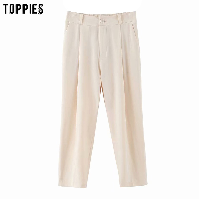 2020 Leisure Suit Pants Woman High Waist Ankle Pants Solid Color Fashion Girls Trousers Streetwear