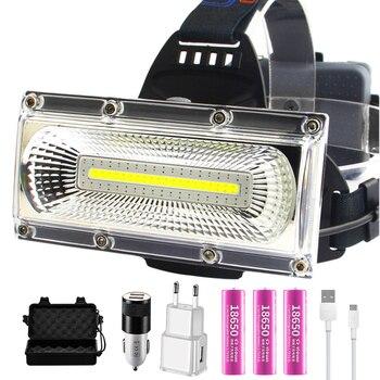 Flutlicht COB LED Scheinwerfer Wasserdichte arbeits kopf lampe 3 Modi Kopf Laterne 3*18650 Wiederaufladbare Frontal Scheinwerfer