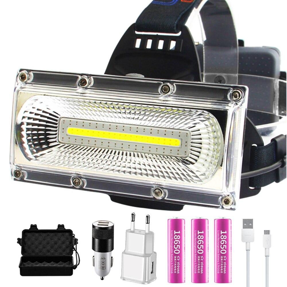 Projektör COB LED farlar su geçirmez çalışma baş lambası 3 modları kafa fener 3*18650 şarj edilebilir Frontal far