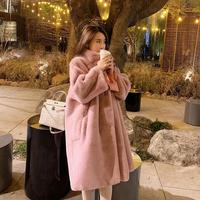 2019 Winter Women Loose Furry Soft Faux Rabbit Fur Coat Korean Style Oversized Streetwear Female Pink Fur Coat Jackets