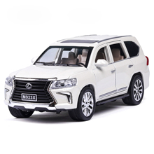 Diecast 1:24 Lexus lx570 Off road Vehicle Suv Simulation Alloy Car Model 6 Door Sound Light Pull Back Car Kids Toys Ornaments