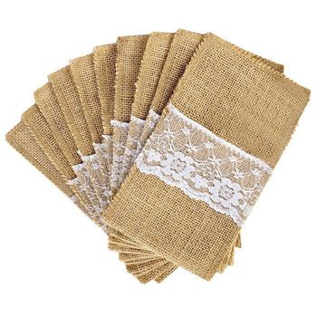 50 pcs Natural Jute Cutlery Knives and Forks Set Silverware Bag Holder Burlap & Lace Party Wedding Decor, 21x11cm