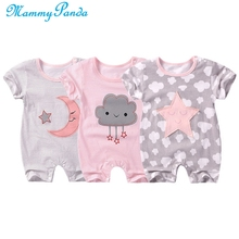 Baby Clothes Onesie Autumn Rompers Short Sleeve Newborn Infant Girl Cartoon Printed Jumpsuit Climbing Cloud