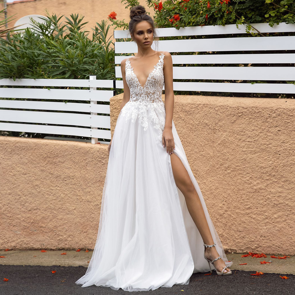 Verngo A-line Wedding Dress Side Slit Wedding Gowns Lace Appliques Tulle Simple Bride Dress Boho Wedding Dress Vestidos De Novia