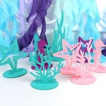 Adornos de fieltro para fiesta de sirena, alga marina de Coral, suministros de fiesta de cumpleaños, decoración para mesa de Baby Shower, 2 uds.