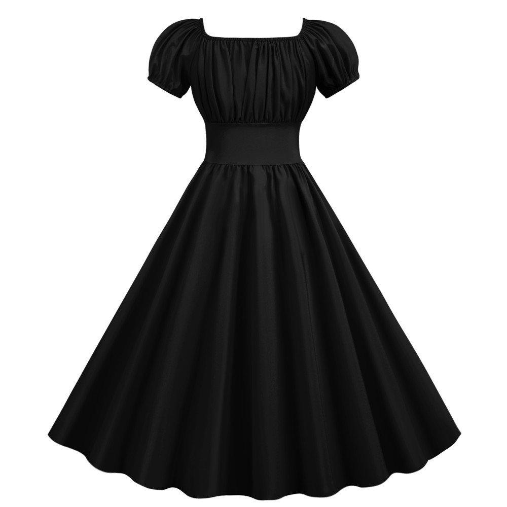 Summer Dress Women 2020 Slash Neck Big Swing Vintage Dress Robe Femme Elegant Retro pin up Party Office Midi Dresses Plus Size