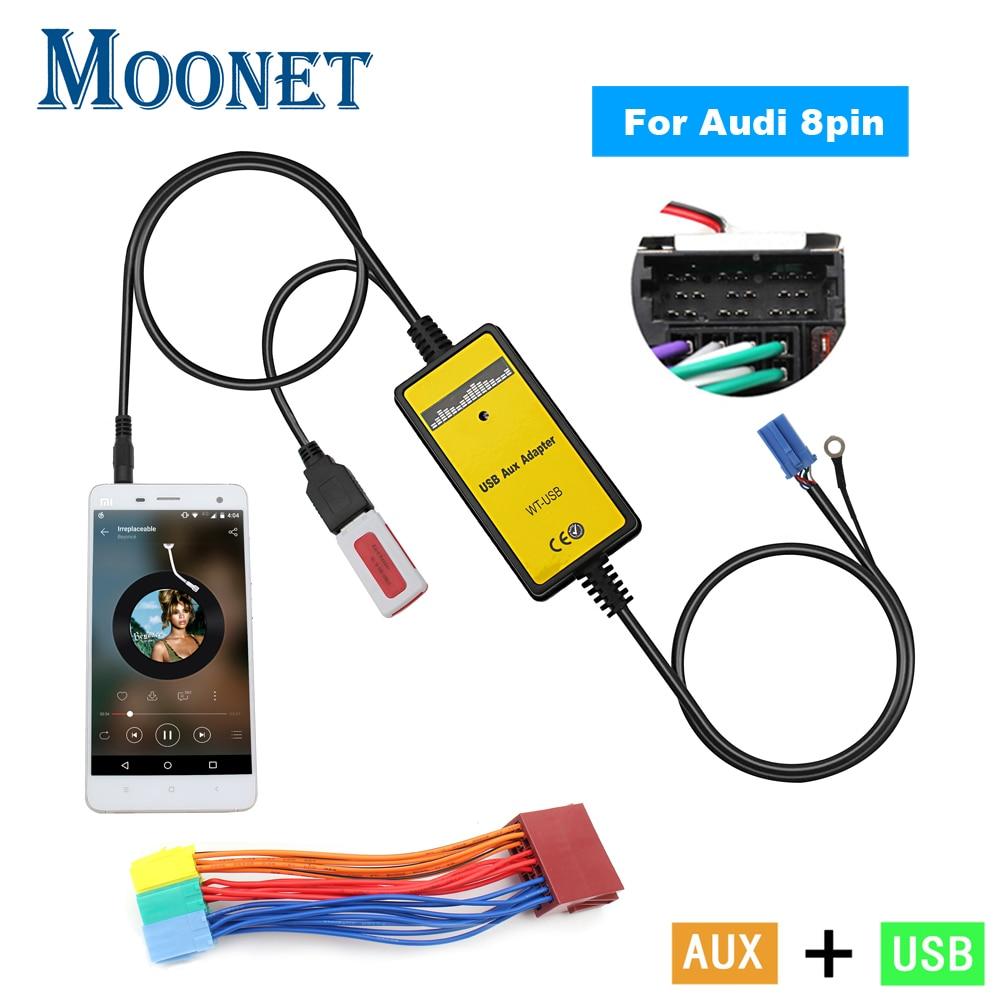 Адаптер Moonet для автомобильной аудиосистемы USB AUX, интерфейс 3,5 мм, преобразователь AUX CD для Audi 8Pin A2 A4 S4 A8 A8 AllRoad TT Skoda Seat KB004