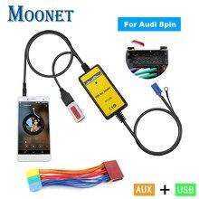Moonet adaptador para usb aux para carro, adaptador de áudio com 3.5mm para audi 8pin a2 a4 s4 a8 a8 allroad tt skoda seat kb004