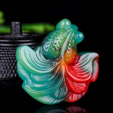 Chinese Natural Colour Jade Goldfish Pendant Necklace Hand-carved Charm Jadeite Jewelry Fashion Amul
