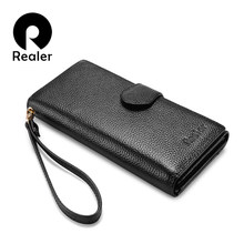 REALER genuine leather women wallet long purse female purse with wristlet strap phone pocket zipper coin pocket for credit card(China)