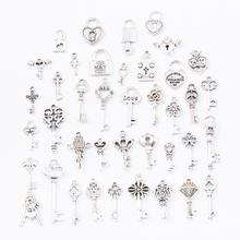 40pcs 40different Key lock Tibetan Silver Mixed Styles Charms Pendants DIY Jewelry for Necklace Bracelet Making Accessaries 2233