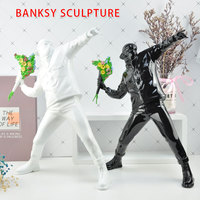 Banksy flower throwing bomber sculpture home decoration ornament figurine Statues Resin Figurine England Street Collectible Art
