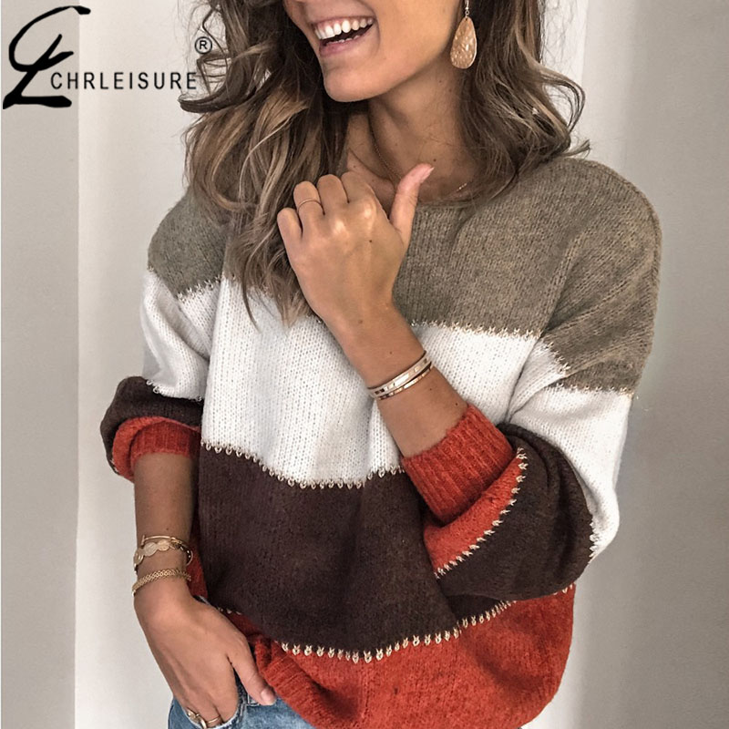 CHRLEISURE Women Sweater Pullover Round Neck Stripe Long Sleeve Sweater Top Fashion Autumn