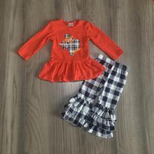 Nowości jesień/zima dziewczynek ubrania dla dzieci butik bawełna orange top mapa ameryki spodnie w kratę zestawy ruffles