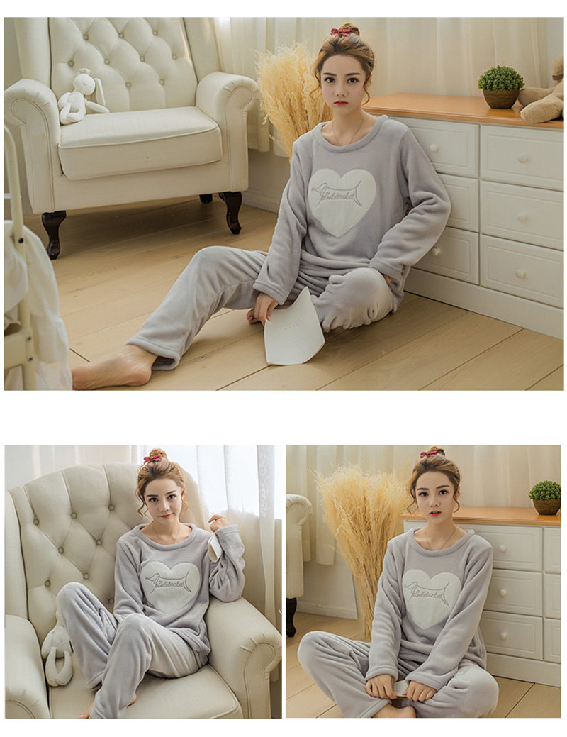 JULY'S SONG Flannel Women Pajamas Sets Autumn Winter Pajamas Cartoon Thick Warm Women Sleepwear Cute Animal Female Homewear 24